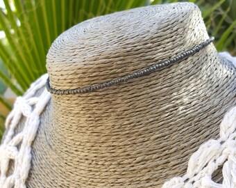 grey choker seed bead necklace sharkskin matte industrial graphite jewellery