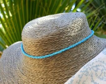 turquoise choker necklace beach aqua boho surfing vacation