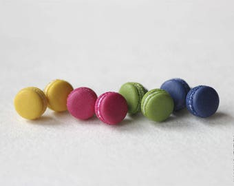 PANTONE 2017 Macarons Stud Earrings - Small Ear Studs - Earrings Post - Food Jewelry