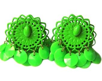 Retro Green Mod Earrings Enamel Dangle Clip On 1960s 1970s Vintage Bohemian Boho Fancy Dangle Stocking Stuffer Gift For Her