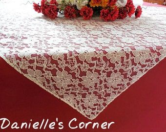 Wedding lace table square ivory lace table overlay table centerpiece