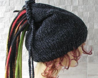 Knitted Men tube, Dreadlocks Hat Warm and Super Chunky Beanie Perfect Dreads Cap black Long hair hat
