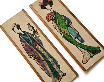 Vintage Gravel Pebble Art Asian Couple Man Woman Geisha Mid Century Mosaic 60s Retro Kitsch  Art Wall Hanging