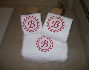 Bath Towel Set with Hearts and  Letter Monogram -Bath Towel, Hand Towel and Wash Cloth