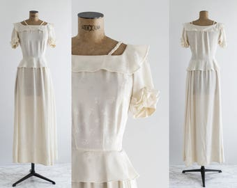 40s Peplum Wedding Dress - Vintage Bride , 1940's Fashion  - La Espera Dress