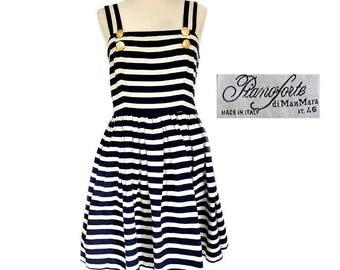Vintage Max Mara Pianoforte Nautical White Navy Blue Striped Full Skirt Sun Dress,Made in Italy Stripes drop waist summer dress M