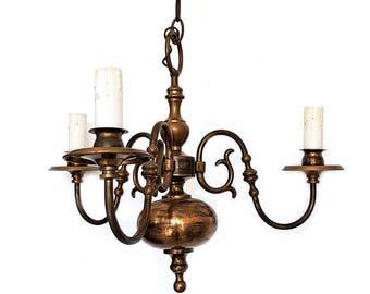 Vintage 3 Light Brass Chandelier,Ball Italian Chandelier,Queen Anne style brass chandelier(reserved)