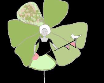 "Poetic digital drawing green, pink and black ""Maid petal etfanion"" print on canvas 20 X 20 cm"