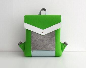 Light Green Gray White Blue Felt Leather Backpack