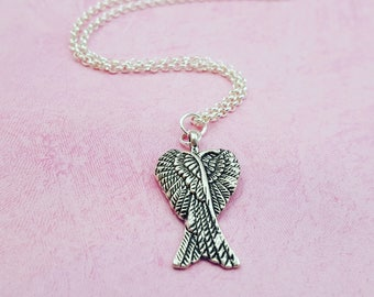 Angel Wings Necklace, Forever in my Heart, Memorial Necklace, Sympathy Necklace, Loss of Baby, Bereavement, Graduation, Anniversary