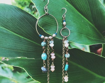 Mother's Day gift, gift for her, boho jewelry, bohemian jewelry, unique earrings, crystal jewelry, turquoise earrings, turquoise jewelry