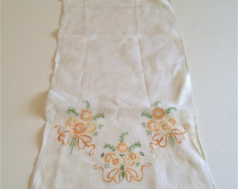 Ecru Linen Dresser Scarf Embroidered Yellow and Orange Flowers, Vintage, Excellent Condition and True Find