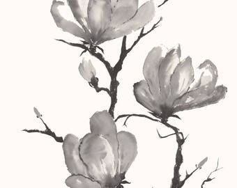 Magnolia Blossoms in Ink Chinese Brush Painting
