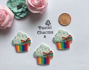 Pack of 3 resin rainbow cupcake embellishments
