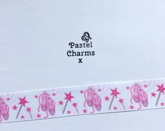 ballet pumps and wand ribbon  2 yards 25mm wide x