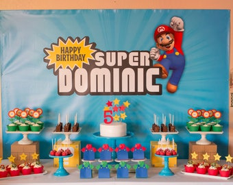 Super Mario Personalized Digital Backdrop - .JPEG File via Email Delivery - You Print Your Own