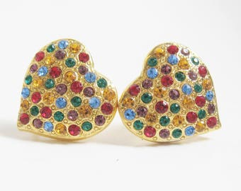 VINTAGE Gold Multi Color RHINESTONE Pave Cluster HEART Clip Back Earrings Retro Mod Romantic Runway Style Disco Fashion Statement Earrings