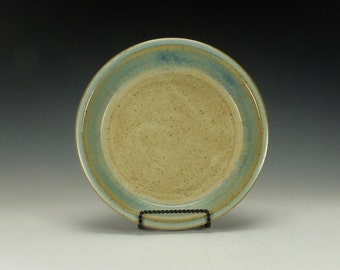 Pottery Pie Plate.  Stoneware.  Light blue and cream.  Ready to ship.
