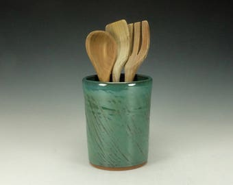 Spoon/ Utensil pottery jar.  Green.  Ready to ship.