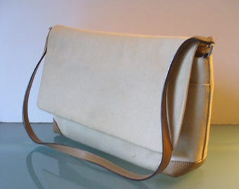 Talbots Made in Italy Leather & Fabric Shoulder Bag