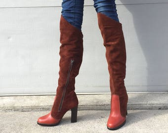 1970s Qualicraft brown leather and suede over the knee boots  - size 5 - go go boots - 70s brown suede boots - thigh high boots - go go