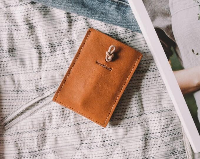 "Card Wallet ""Companion"", Full Grain Italian Leather, Suede Italian Leather, Tan, Black"