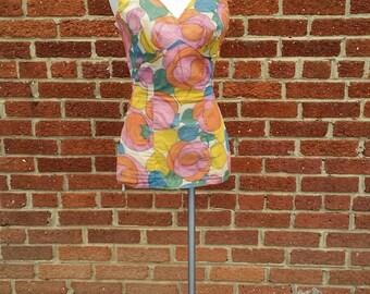 SPRING CLEANING Vtg Rose Marie Reid Bombshell Swimsuit // Abstract Flower Print // Shabby Sheer Fabric