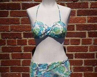 SPRING CLEANING SALE Vintage 50s 60s Bikini // Blue Green Floral Print // Retro Vtg Swimsuit