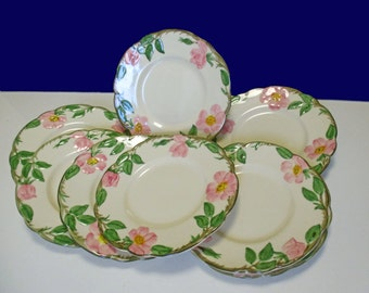 Franciscan China Desert Rose Pattern - Bread and Butter Plates (USA) - Set of 4 - 1950s