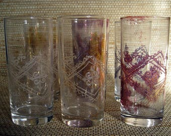 Embossed Glassware, different coloring, set of 6