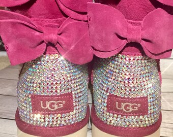 bling UGG boots- bling winter boots - custom UGG boots - bling uggs - pink bailey bow uggs- bling uggs with bows - pink bling ugg boots