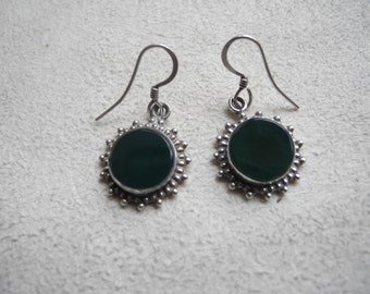 90s hippie/grunge vintage 925 silver earrings with green quartz stone