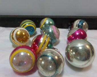 Vintage Shiny Brite Striped Mercury Glass Ornaments - 10