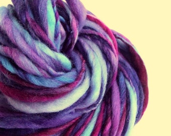 Thick and Thin yarn, chunky wool, magenta pinks and blue, lilac and purples, knitting yarn, chunky merino knitting wool, big knitting wool
