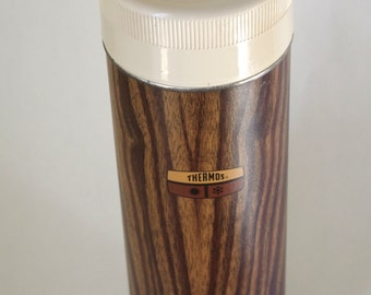Vintage Faux Wood Grain Thermos 1 Quart Size with Wide Mouth and Cup Perfect for Soup or Drinks