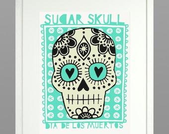Glow-in-the-dark Sugar skull screen print in Mexican mint