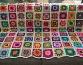 Reserved Crochet blanket, colourful crochet blanket, crochet granny square blanket