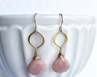 Faceted Pink Opal 14k Vermeil Marquis 14k Gold Fill Earrings