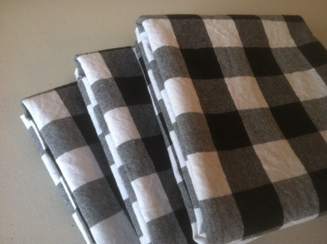 Black White Gingham Buffalo Check Hand Towels Tea Towels
