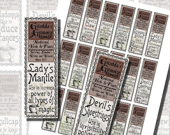 Harry Potter Herbology, Potion Ingredients, BOTTLE LABELS (1x3 Inches, 25x75 mm)