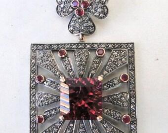 Victorian Diamond Pink Topaz Gold Silver Pendant