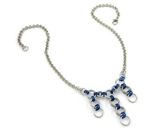 Silver and Blue Y Necklace