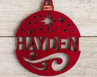 Personalized 2017 Christmas Ornament - Red Maple or Mahogany Wood