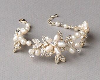 Gold Pearl Bracelet, Floral Wedding Bracelet, Rhinestone Bridal Bracelet, Pearl Bracelet, Wedding Jewelry, Gold Bridal Jewelry ~JB-4818-G