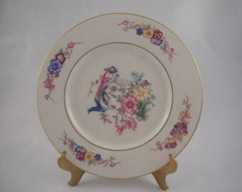 Castleton China Venetian Bread and Butter Plates, Colorful Plate With Phoenix Bird