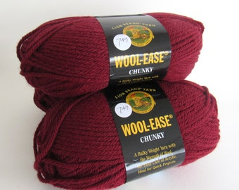 Clearance Yarn (3) Burgundy Destash Lot Woolease Chunky Skeins Lot Sewing Knitting Supplies Wholesale CrazyCoolStuff Lion Brand wool-ease
