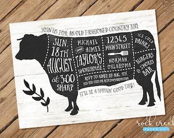 Rustic BBQ Invitation, BBQ Birthday Invitation, Rustic Cow Invitation, Rustic Pig Invitation, Wedding Rehearsal, Printable Party Invitation