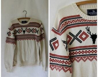 Sale Mens Sweater / Vintage Sweater / Reindeer Skull Sweater / Vintage Skull n Tribal Sweater / Nordic Sweater M