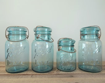 Vintage Aqua Ball Ideal Mason Canning Jars With Glass Lids And Wire Bail - Set of 4