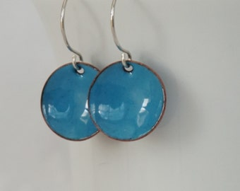 Teal Blue Enamel Earrings - Aqua - Enamel Jewelry